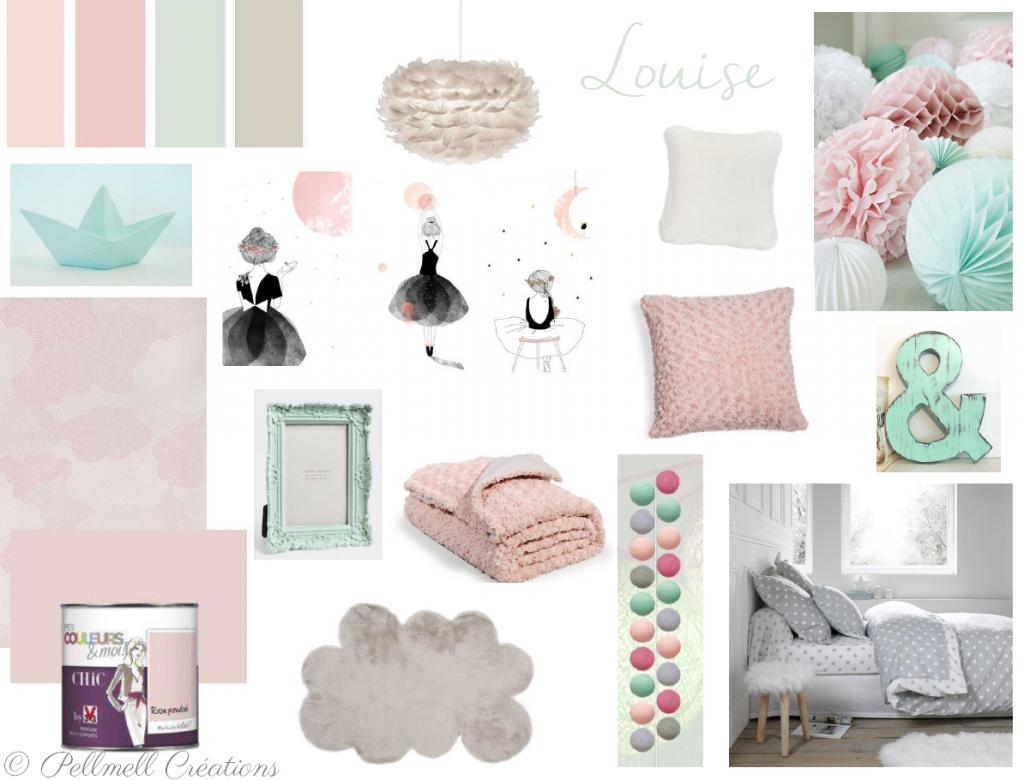 Une chambre d\'enfant rose poudré et mint - Pellmell Déco