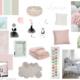 Planche d'inspiration pour une chambre rose poudrée