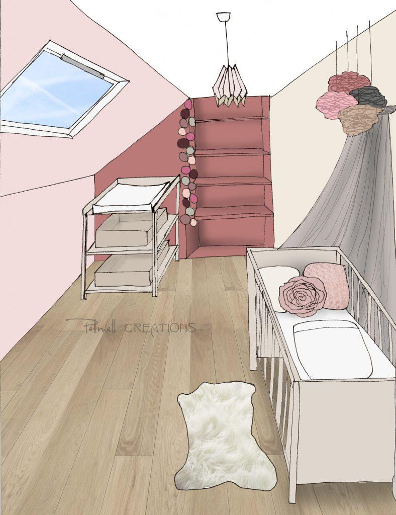 Une Chambre Bébé Rose Poudré Et Violet