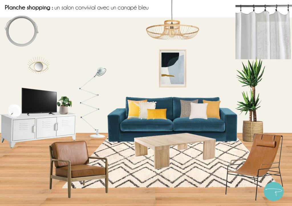 Un Salon Convivial Autour D Un Canape Bleu Pellmell Deco